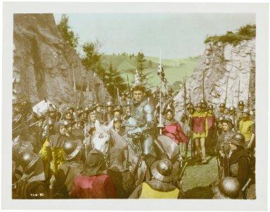 Photograph from Laurence Olivier's movie of Henry V: Olivier as Henry V