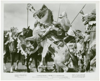 Photograph from Laurence Olivier's movie of Henry V: French Knights.