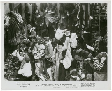 Photograph from Laurence Olivier's movie of Henry V: Backstage at the Globe