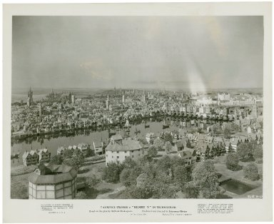 Photograph from Laurence Olivier's movie of Henry V: Aerial shot of Elizabethan London.