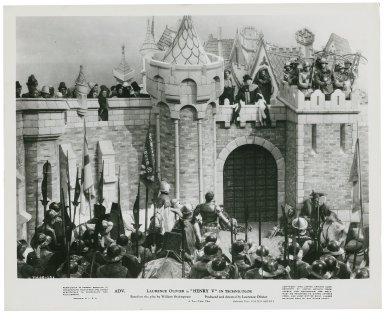 Photograph from Laurence Olivier's movie of Henry V: At the gates of Harfleur.