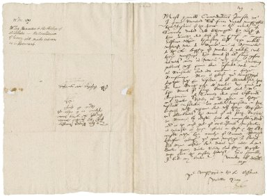 Saye, William. Autograph letter signed. To Sir William More and George More at Loseley. Winchester.