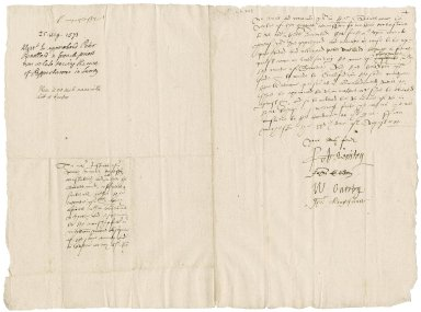 Surrey, England. Commission concerning Jesuits, seminaries, and recusants. Letter signed by the Bishop of Winchester and others. To Sir William More and the Justices of the Peace, mayors, constables, etc., of Surrey. Winchester.