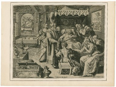 The dying hour of the rich man from the parable of Lazarus and the rich man] [graphic] / Martin de Voss inventor; Crispian de Pass fec. et exc.