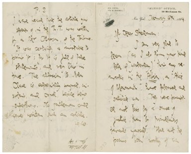 Autograph letter signed from William Winter, New York, to Edmund Clarence Stedman
