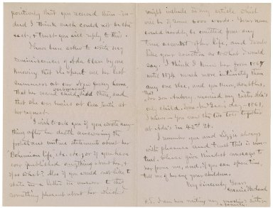 Autograph letters signed from Marie Howland to William Winter