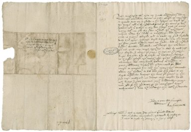 """Farrant, Anne (Bower). Letter signed. To Sir William More """"at hys howse neir Gilforde"""". Greenwich."""