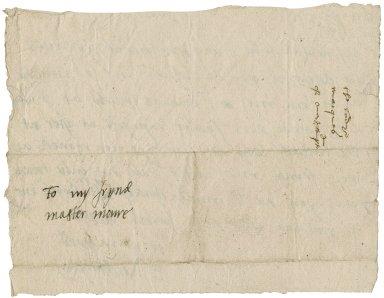 Northampton, Elizabeth (Brooke) Parr, Marchioness of. Autograph letter signed. To William More.