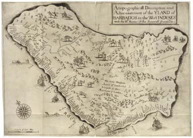 [True & exact history of the island of Barbados] A true & exact history of the island of Barbadoes. Illustrated with a map of the island, as also the principal trees and plants there, set forth in their due proportions and shapes, drawn out by their several and respective scales. Together with the ingenio that makes the sugar, with the plots of the several houses, rooms, and other places, that are used in the whole process of sugar-making; viz. the grinding-room, the boyling-room, the filling-room, the curing-house, still-house, and furnaces; all cut in copper. By Richard Ligon, gent.