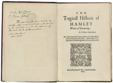[Hamlet] The tragicall historie of Hamlet, Prince of Denmarke / by William Shakespeare ; as it hath beene diuerse times acted by his Highnesse seruants in the Cittie of London ; as also in the two vniuersities of Cambridge and Oxford, and else-where.
