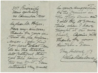 Autograph letter from Julia Marlowe, New York to H.C. Folger, New York [manuscript].
