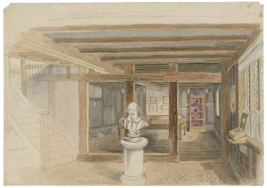 Portions of the Birthplace: the exterior from east of garden, the attic, the butcher's shop, and the museum [graphic] / [John Thomas Blight].