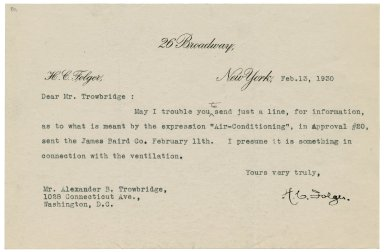 Letter to Alexander Trowbridge, Feb 13, 1930
