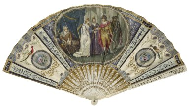 [Hand-painted fan depicting the marriage scene from Henry V] [realia]