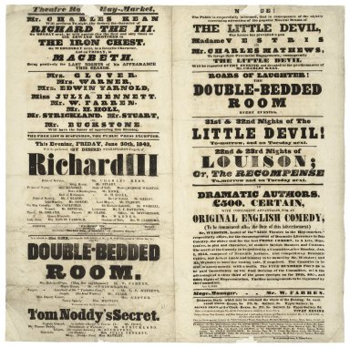 Playbill for Richard III & other plays at the Theatre Royale, Haymarket.