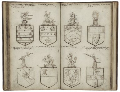 Coats of arms granted by Robert Cooke, Richard Lee and others, ca. 1570-1600 [manuscript], ca. 1600.