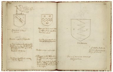 Copy of A note of some coats and crests lately come to my hands given by William Dethick when he was York herald ..., ca. 1600 [manuscript], ca. 1700.