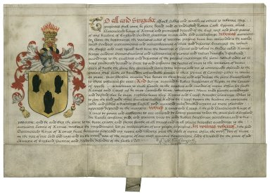 Grant of arms from Clarenceux King of Arms to Robert Horsseman of Ripon, Yorkshire, Gent. [manuscript]
