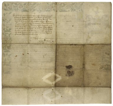 Grant of arms from Clarenceux King of Arms to Edward Lyster, Esq., doctor of physick of London [manuscript], 1602 April 20.