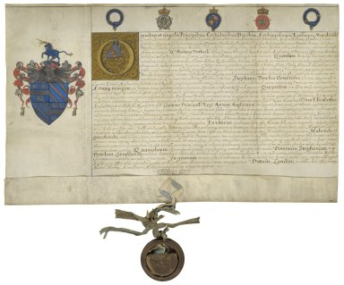 Grant of arms from the Garter King of Arms to Stephen Powle, gent., citizen of London [manuscript], 1588 March 15.