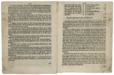 A prophecie of the life, reigne, and death of VVilliam Laud, Archbishop of Canterbury: by an exposition on part of the 13. and 15. chapters of the Revelation of John. Wherein the summe of all his actions are foretold, his name nominated, his correspondency with the Pope, his cruelty to the Church, and the strange wonders declared, which in his time should be done by fire from heaven: and his courts, seals, marks, yea the very monopolies all clearly forshewed: also how by the supreme councell he shalbe put to death; after which they shall rejoyce, and obtaine a finall victory over the Papists in armes against them. Perused and allowed.