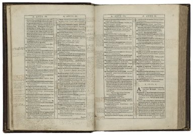 Huloets dictionarie / newelye corrected, amended, set in order and enlarged, vvith many names of men, tovvnes, beastes, foules, fishes, trees, shrubbes, herbes, fruites, places, instrumentes &c. ; and in eche place fit phrases, gathered out of the best Latin authors ; also the Frenche therevnto annexed, by vvhich you may finde the Latin or Frenche, of anye English woorde you will ; by Iohn Higgins late student in Oxeforde.