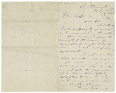 Autograph letter signed from Edwin Booth, Long Branch, to Gilderoy Wells Griffin, 19th century July 25