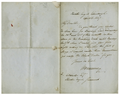Autograph letters signed from W.H. Murray, Theatre Royal, Edinburgh, to Ira Aldridge [manuscript], 1847 April 8.