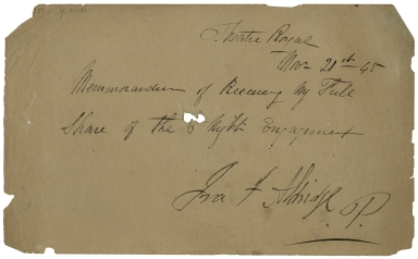 Autograph receipt signed by Ira Frederick Aldridge from the Theatre Royal [Covent Garden] [manuscript], 1845 November 21.