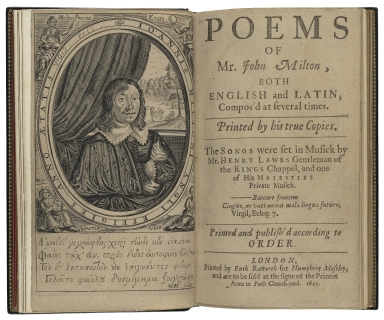 [Poems. Selections] Poems of Mr. John Milton : both English and Latin, compos'd at several times. Printed by his true copies. The songs were set in musick by Mr. Henry Lawes Gentleman of the Kings Chappel, and one of His Maiesties private musick. Printed and publish'd according to order.