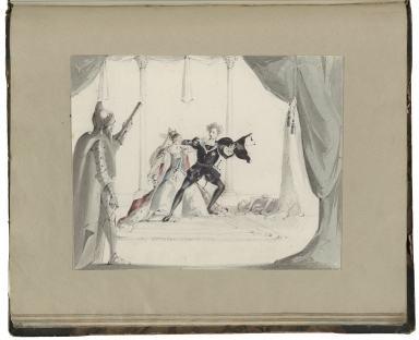Scrapbook with original watercolor illustrations of scenes from Shakespeare's Hamlet, The Tempest, and Henry the fifth.