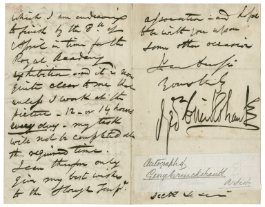 Autograph letter signed from George Cruikshank, London, to Richard Dean [manuscript].