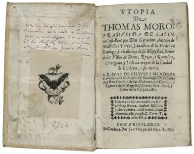 [Utopia. Spanish] Utopia de Thomas Moro / traducida de latin en castellano por Don Geronimo Antonio de Medinilla i Porres ...