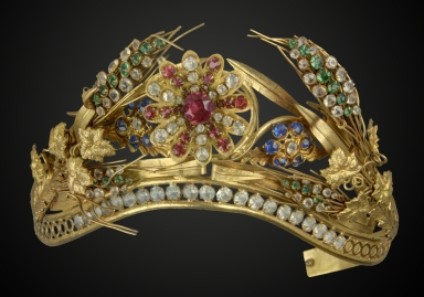 Gilt Coronet with jeweled wheat sheaves and flowers