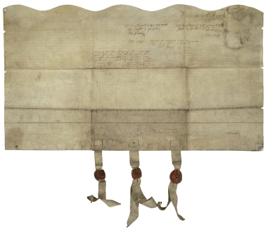 Bargain and sale from John Jackson and John Hemynge of London, Gents., and William Johnson, vintner of London, trustees of William Shakespeare, deceased, to John Greene of Clements Inn and Matthew Morryes of Stratford-upon-Avon, Gent., trustees for the heirs of William Shakespeare [manuscript].