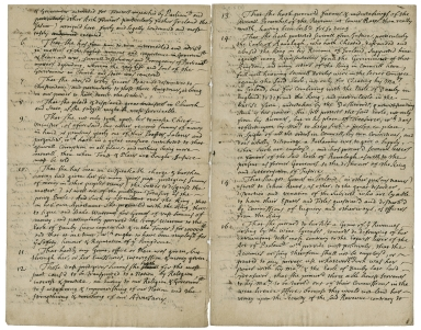 Articles of treason and other high misdemeanors and crimes against the Duchess of Portsmouth [manuscript], ca. 1680.