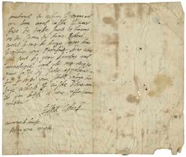 Autograph letters signed from Lady Essex Cheke to the Earl and Countess of Manchester