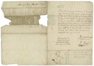 Autograph letter signed from Elizabeth Stanley, Countess of Derby, to Henry Clifford, between approximately 1606 and 1627 [manuscript].