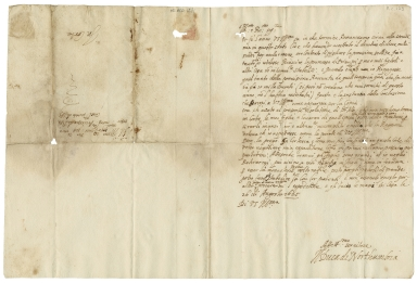 Autograph letter signed from Robert Dudley to the Archbishop of Pisa, Guiliano de�Medici