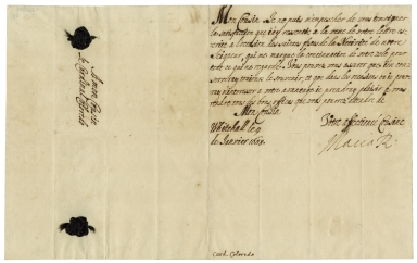 Autograph letter signed from Mary of Modena, Whitehall, to Cardinal Coloredo