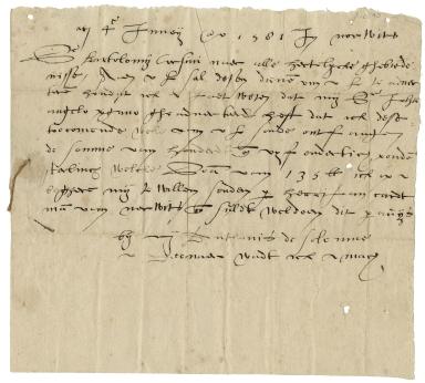 Autograph letter signed from Anthony de Solempne, Norwich, to Bartolomeo Corsini, London