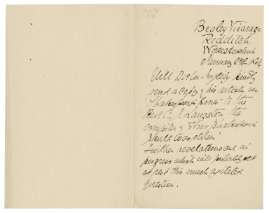 3rd person letter from Rev C.J. Langston, Beoley Vicarage, Worcs.: requesting copy of 'Shakespeare's Bones' for compiler of 'How Shakespeare's Skull was Stolen'.