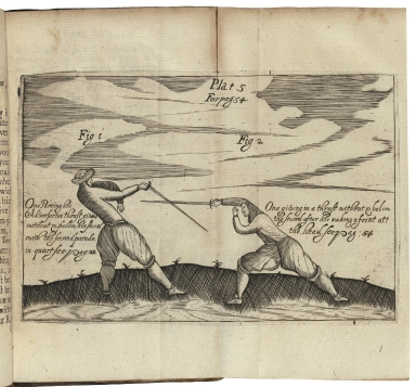 [Scots fencing-master. 1692] The compleat fencing-master: : in which is fully-described the whole guards, parades and lessons, belonging to the small-sword; as, also the best rules for playing against either artists or others, with blunts or shapes. Together with directions how to behave in a single combat on horse-back: illustrated with figures engraven on copper-plates, representing the most necessary postures. The second edition. / By Sir W. Hope, Kt.