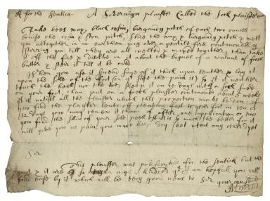 R. for the sciatica [manuscript], c. 1700. A Soveraign plaister Called the foot plaister