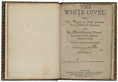 The white diuel, or, The tragedy of Paulo Giordano Vrsini, Duke of Brachiano, with the life and death of Vittoria Corombona the famous Venetian curtizan. Acted by the Queenes Maiesties Seruants. Written by Iohn Webster.