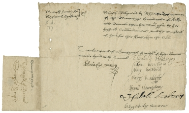 Receipt from Elizabeth Hastings and other Maids of Honor to John Bridges