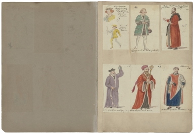 [A collection of watercolor drawings and tracings of theatrical costume, arms, banners, shields, etc., drawn especially for Charles Kean���s productions at the Princess���s and Haymarket theatres [graphic] / by Charles Hamilton Smith and his daughter, Emma].