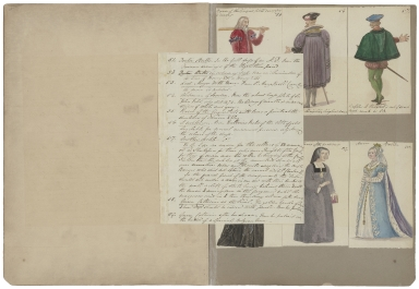 [A collection of watercolor drawings and tracings of theatrical costume, arms, banners, shields, etc., drawn especially for Charles Kean���s productions at the Princess���s and Haymarket theatres [graphic] / by Charles Hamilton Smith and his daughter, Emma]. || Autograph letters signed from Emma Hamilton Smith, Plymouth, to Charles and Ellen Kean [manuscript].