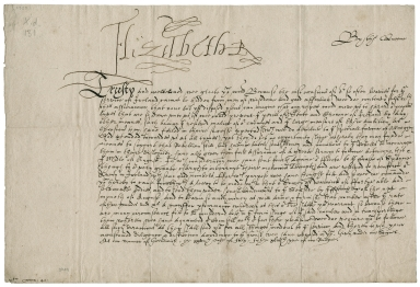 Letter of command signed from Elizabeth I, Queen of England, to the High Sheriff of Warwickshire