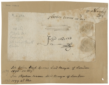 Signature and seal of Sir Stephen Soame
